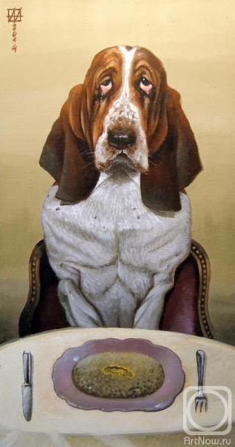 Собака с овсянкой за столом