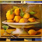 Натюрморт с лимонами во фруктовнице или конфетнице на ножке