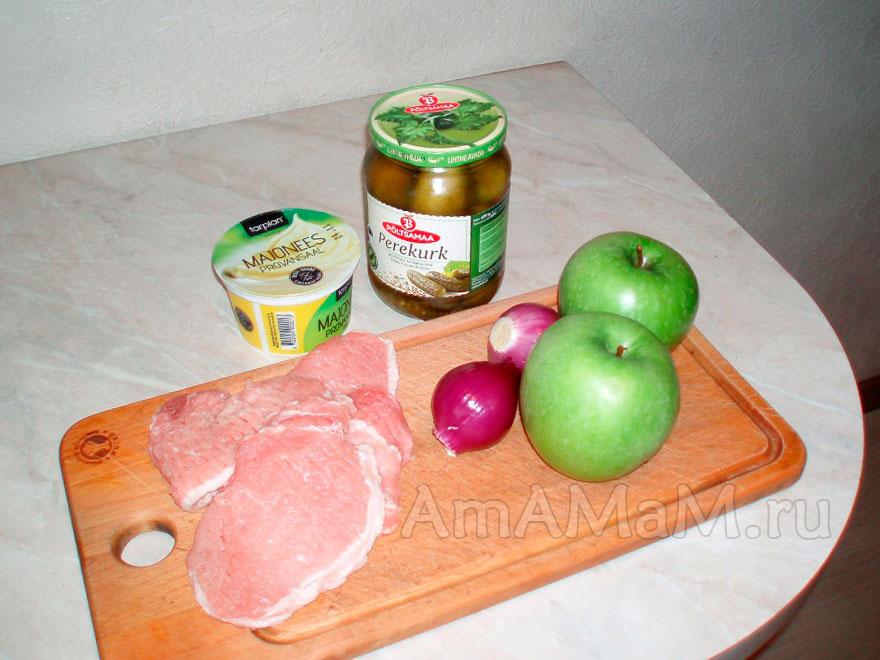 Что приготоивть из небольшого кусочка свинины - рецепт салата