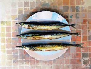 Картина с изображением рыбы - сайра горячего копчения