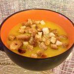 Осенний супчик (тыквенный суп-пюре с мясом и сухариками)