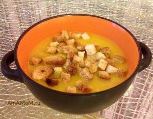 Приготовление супа-пюре с мясом и сухариками