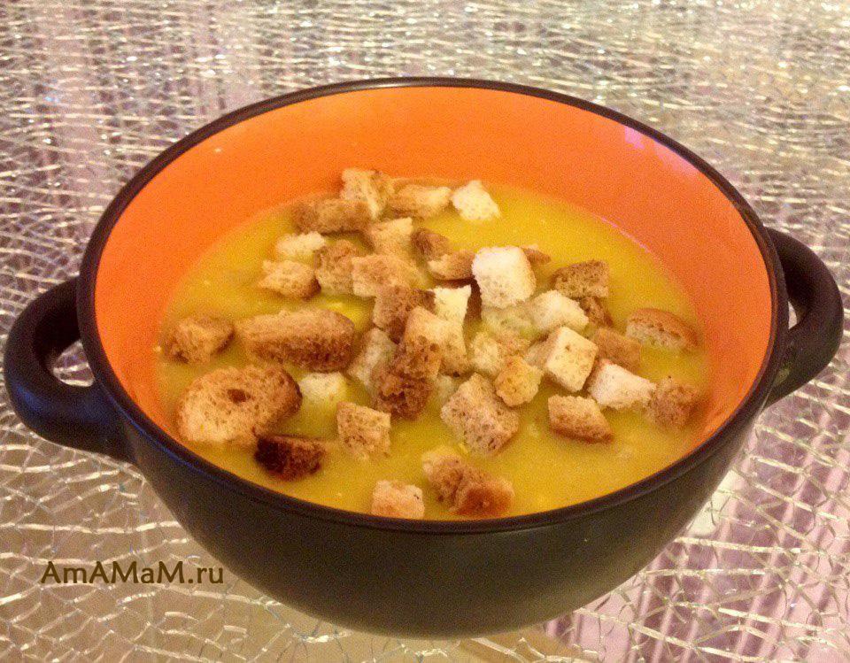 Приготовление супа-пюре с ветчиной и сухариками
