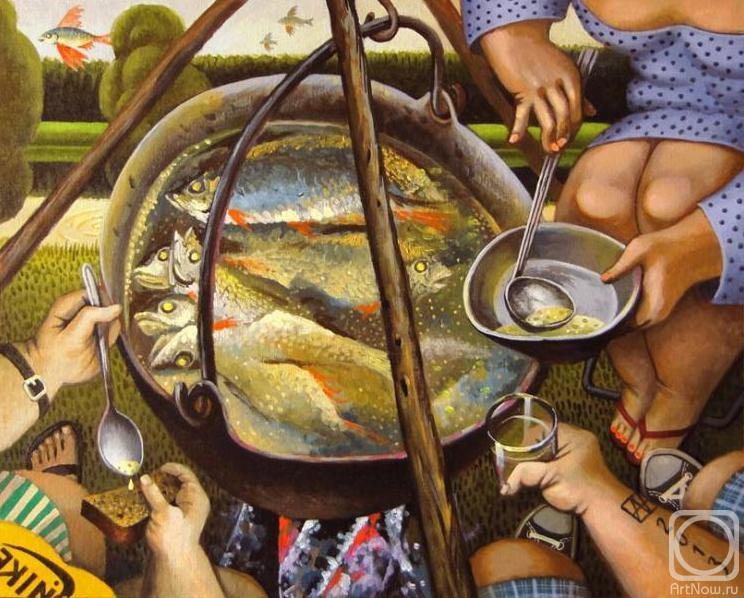 Пикник на природе - рыбанка с ухой в котелке