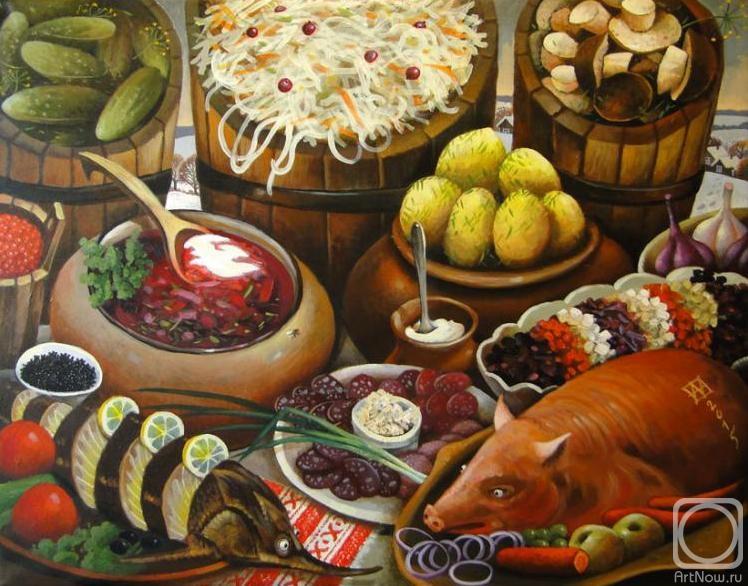 Изобильный русский стол с домашними заготовками, колбаской, поросенком, рыбкой
