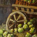 Яблоки у колеса телеги и в корщинке - все надкусанные