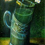 Андрианов Андрей Юрьевич. Зеленый чай с жасмином грунтованный картон/акрил 50см x 37см 2013 г.