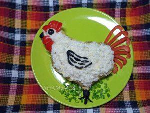 Запеканки и салаты в виде петуха - как сделать, чем украсить - рецепт с фото