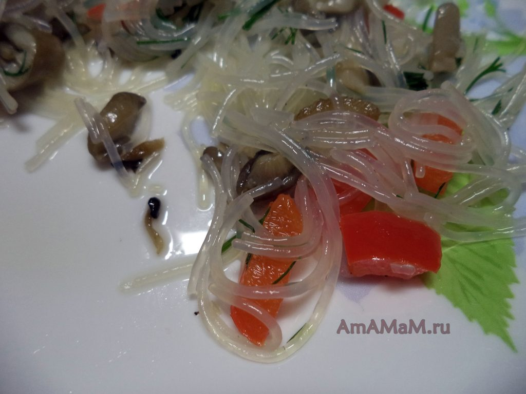 Грибная фунчоза - рецепт с фото