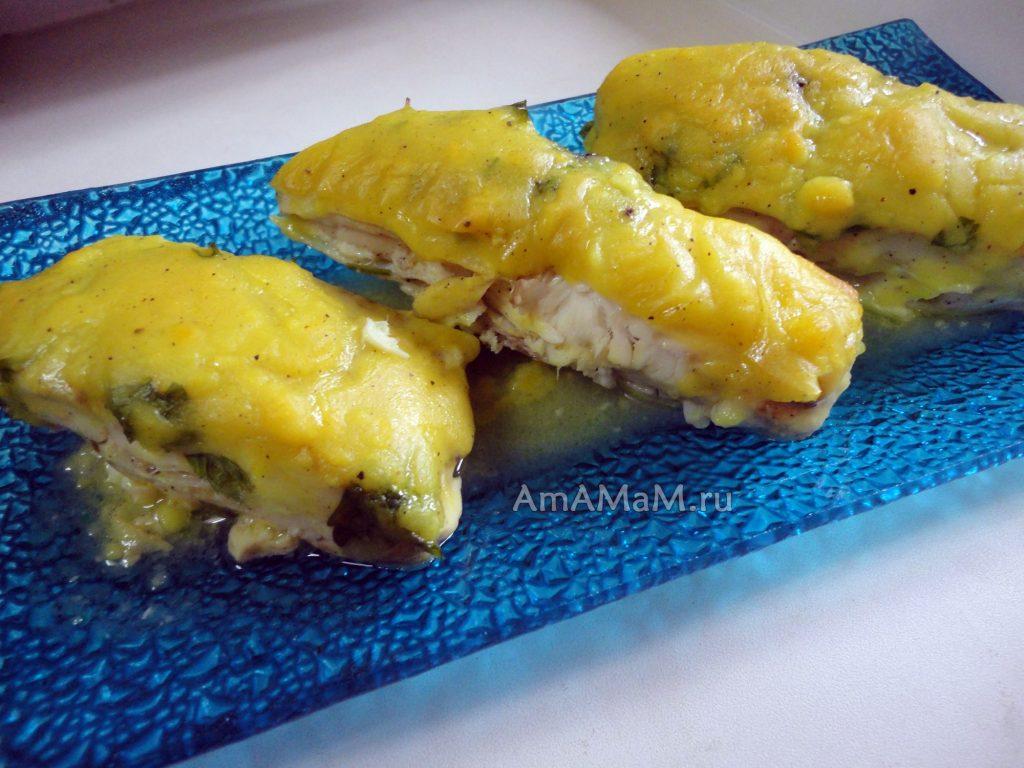 Камбала кусочками - запекание в духовке под соусом