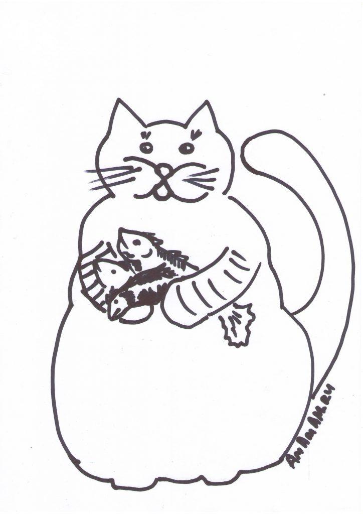 Рисунок кота простой для праздничного салата