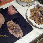 Грудка с грибами - куриные рулеты