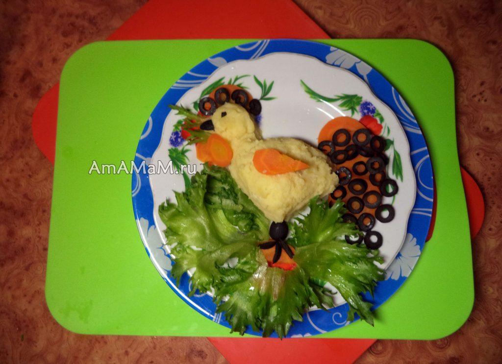 Картошка-пюре в форме петуха