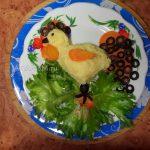 Пюре картофельное - как выложить в виде петушка