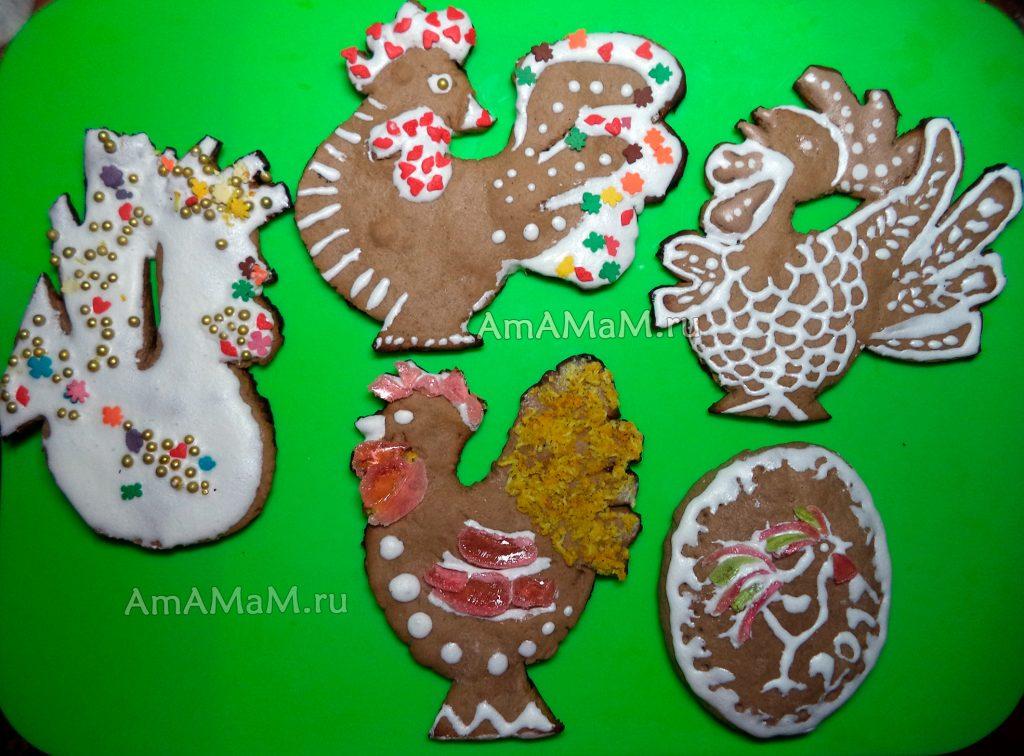 Петухи - имбирное печенье (пряники)