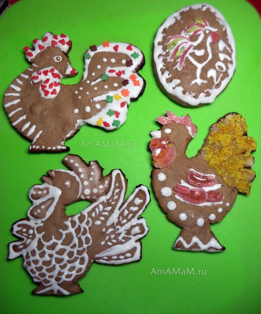 Петухи разной формы и сложности - рецепт пряников и печенья