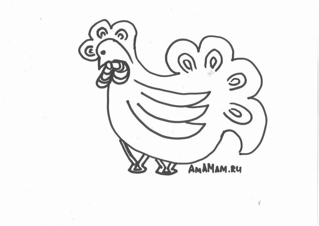 Рисование петуха на новый год - картинки