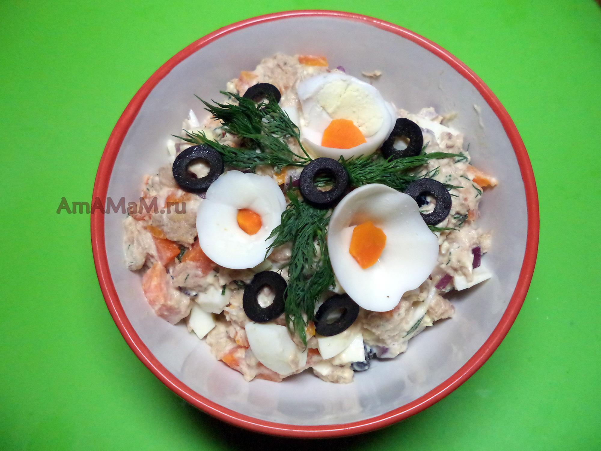 рецепты салатов с консервами из рыбы