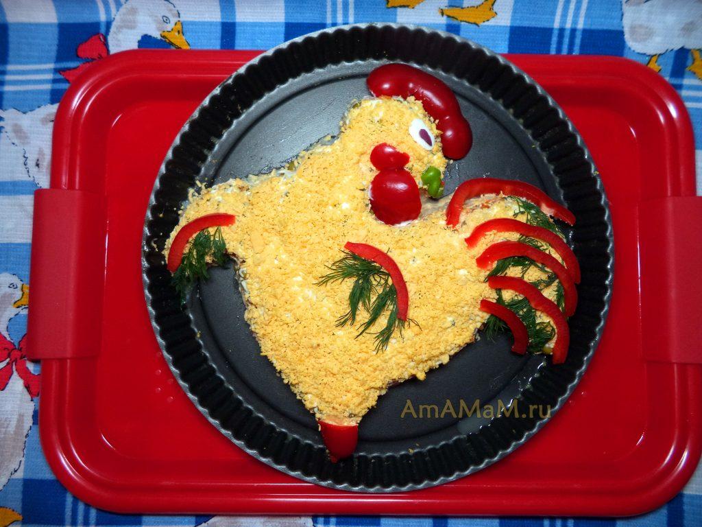 Рецепты салатов в виде петуха (рыбный)