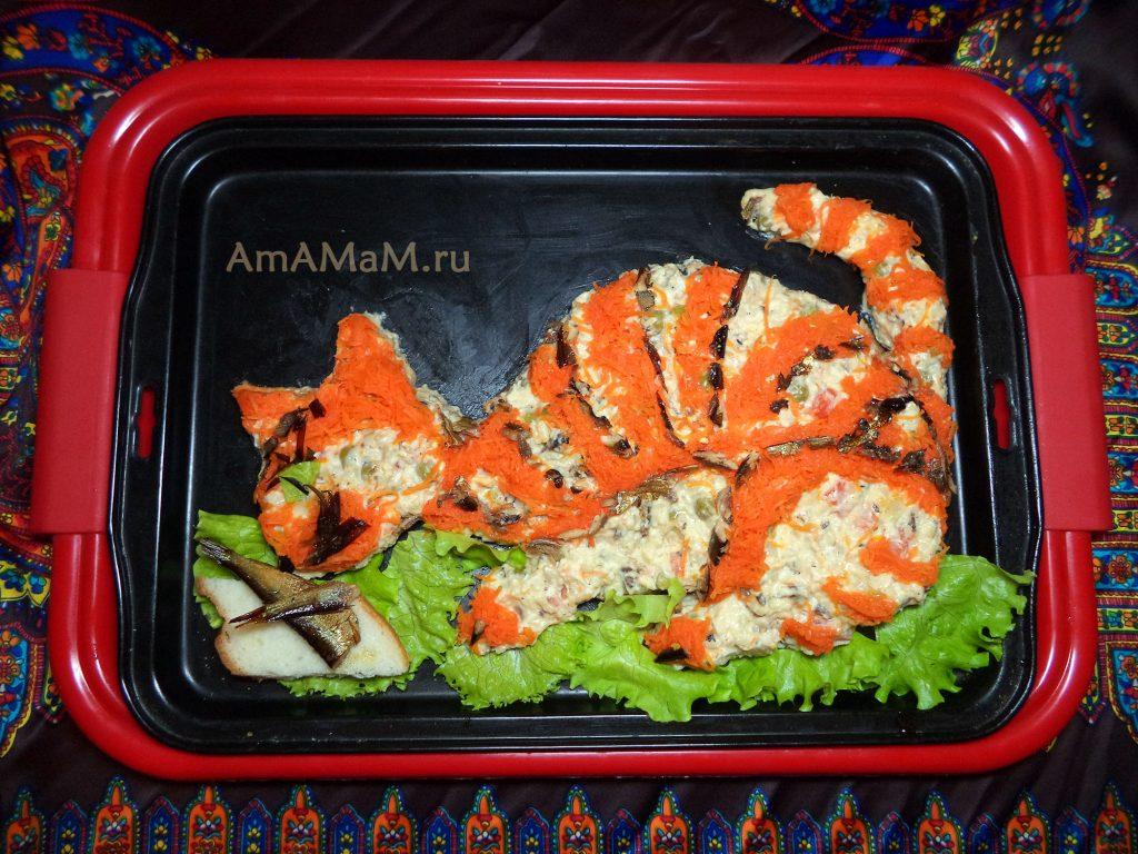Кот и рыба - салат со шпротами