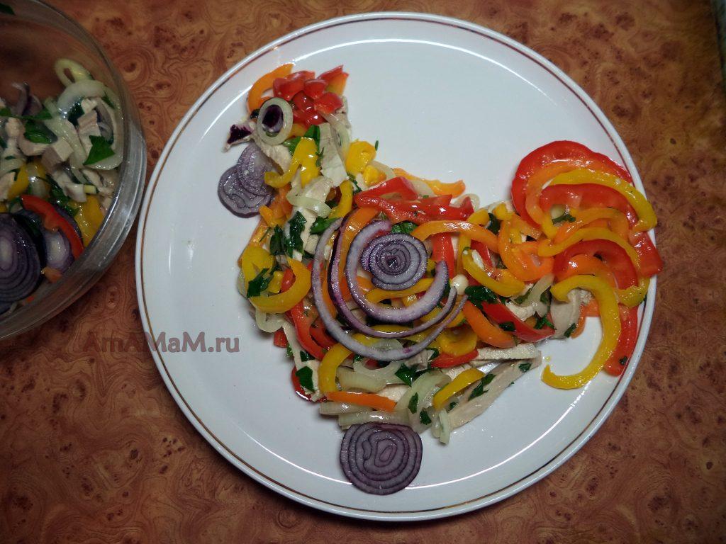 Как сделать петушка из мясного салата - простой рецепт с фото