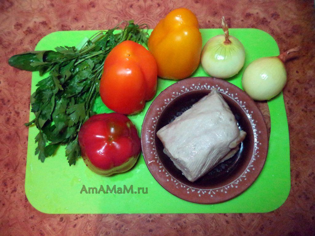 Салат Петух - ингредиенты (мясо, перец, лук)