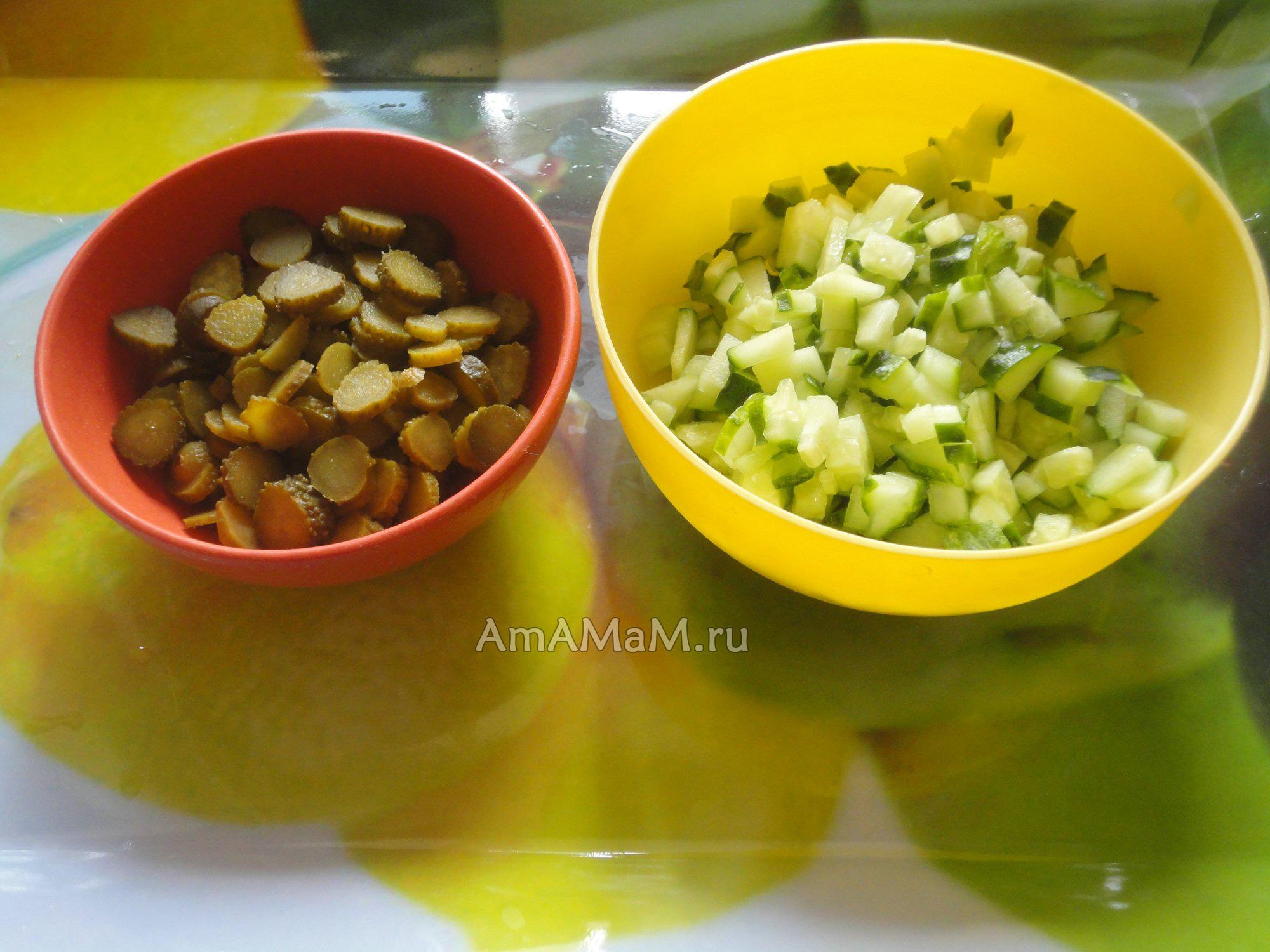 слоеный салат из языка