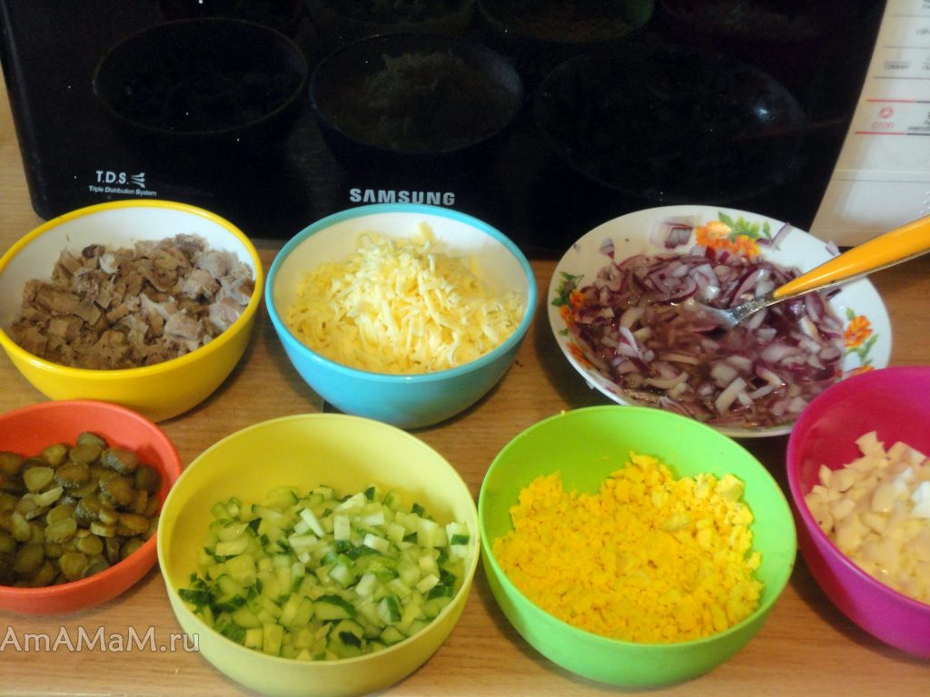 Слоеный салат со свиным языком - ингредиенты