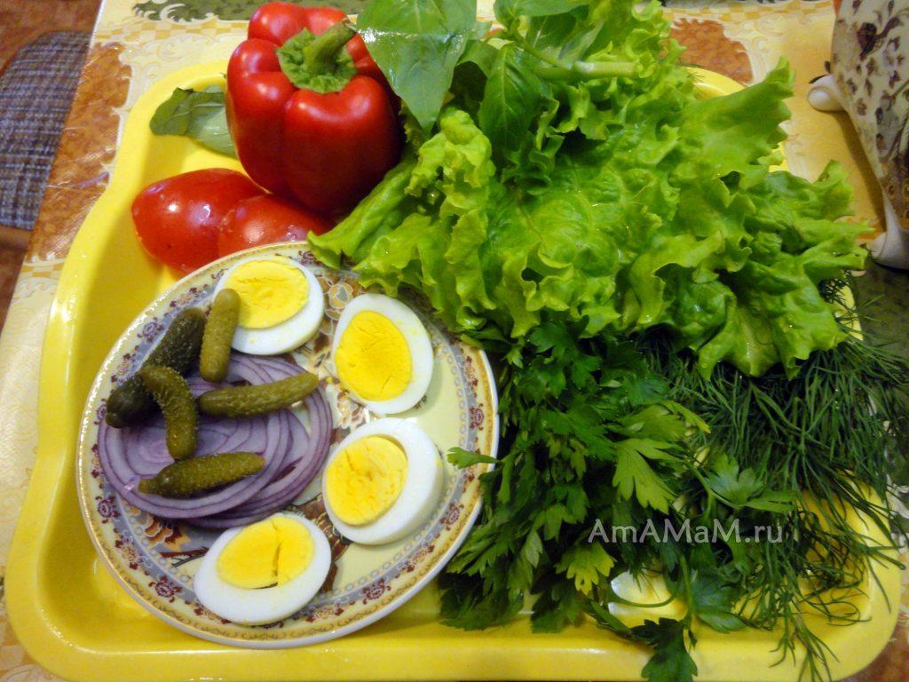 Украшение из продуктов для салата - фото