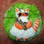 Рыбный салат в виде кота - рецепт с пошаговыми фото