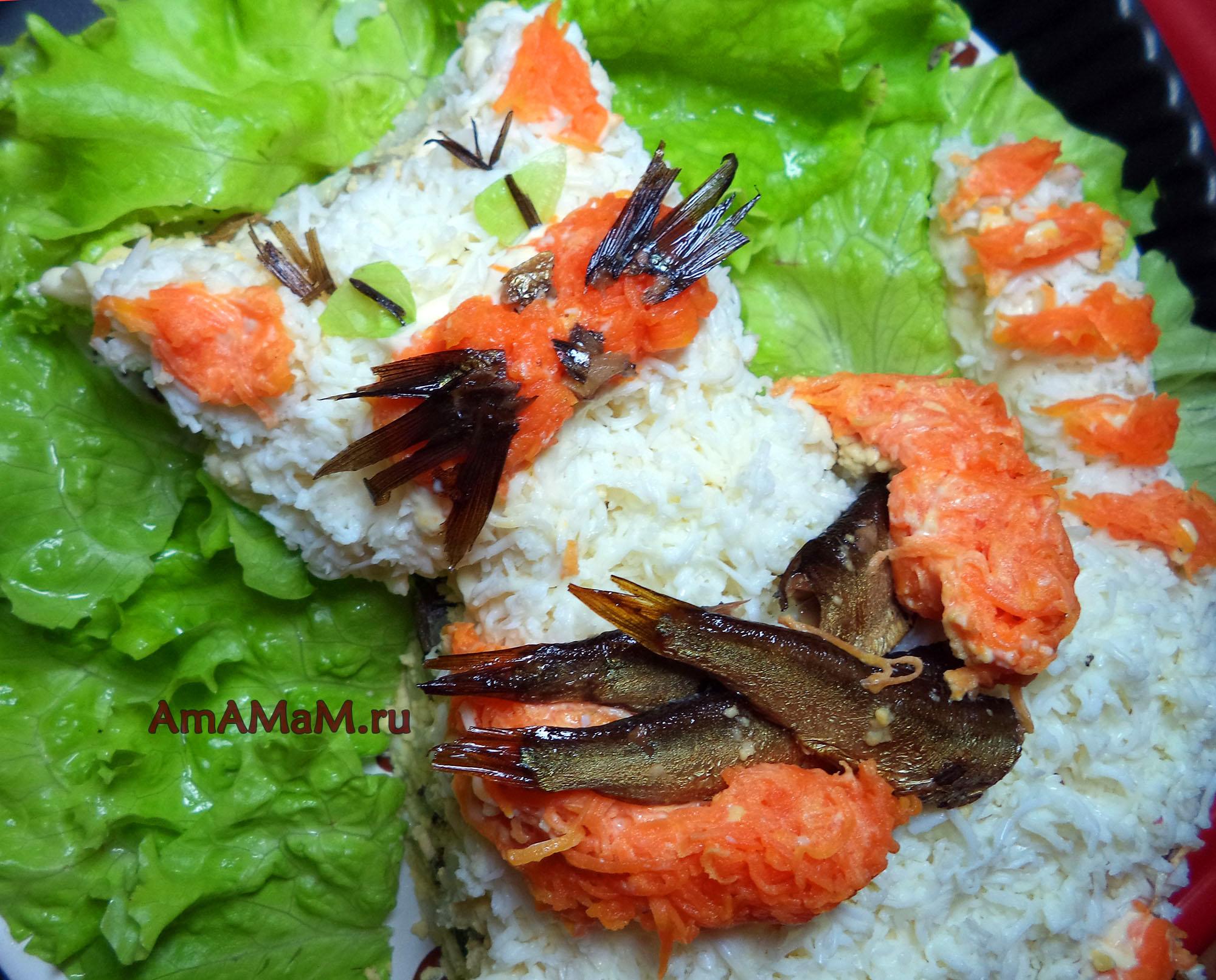 Салат с рыбой горячего копчения рецепт