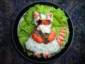 Рецепт салата в виде котика