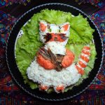 Рецепт салата со шпротами в виде кота