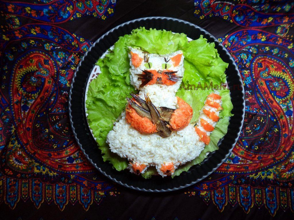 Шпротный салат в виде кота - рецепт с фото