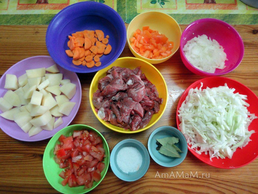 Как нарезать продукты в щи в горшочке - фото