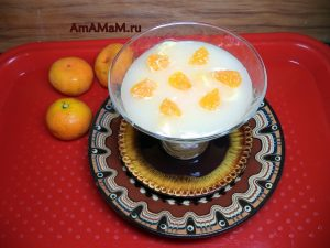 Десерт мандариновый на основе крахмала