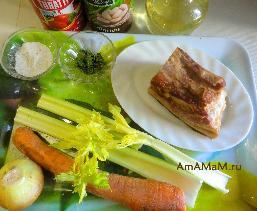 Состав блюда с белой фасолью и грудинкой