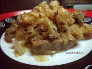 Свежая белокочанная капуста со свининой с жирком - рецепт приготовления с фото
