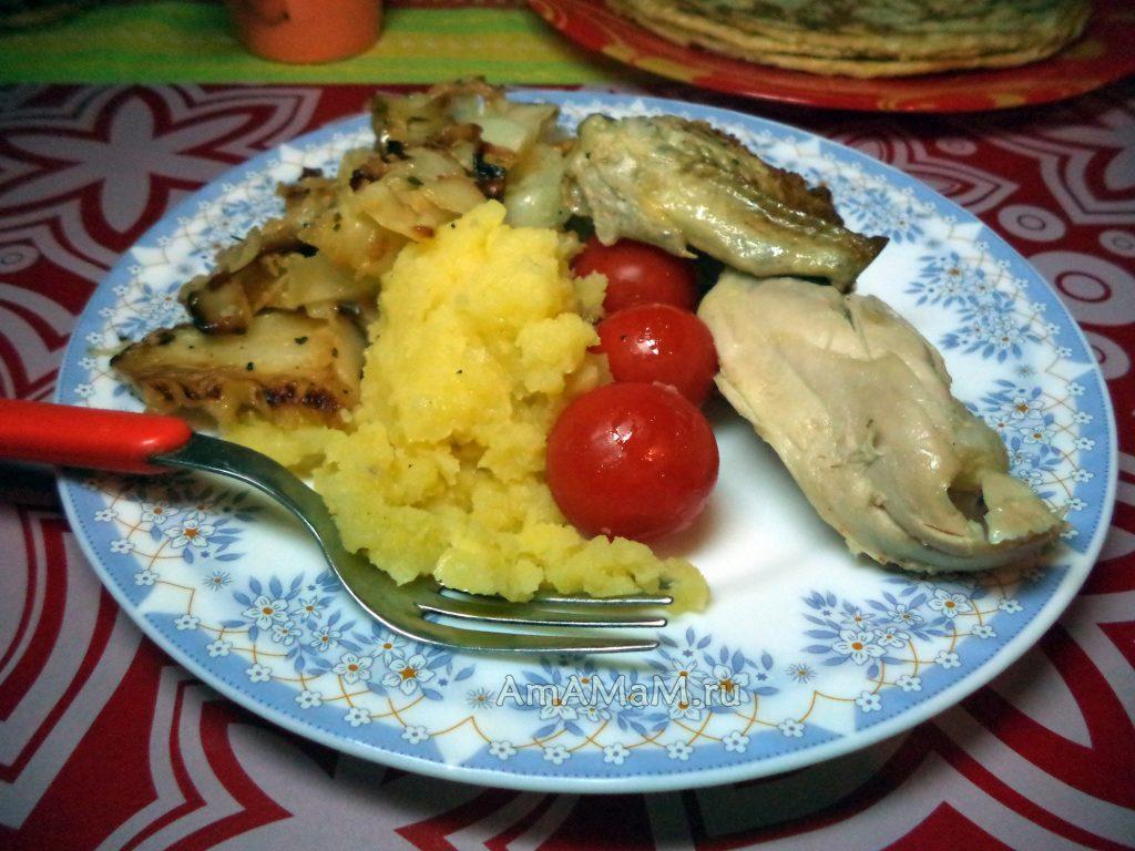 Что сделать н аужин - картошка с курицей и жареной капустой - рецепт