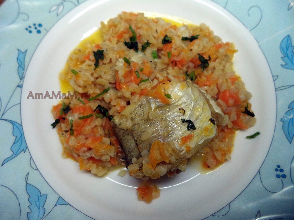 Приготовление булгура с рыбой - рецепт из минтая