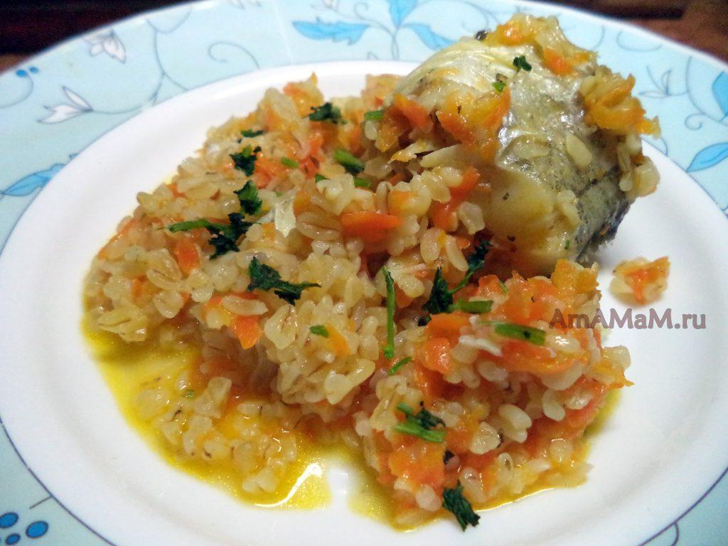 Ужин из булгура с рыбой (минтай )
