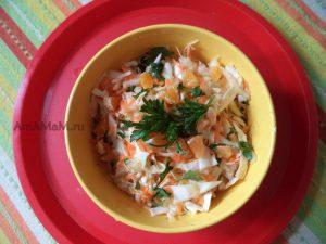 Капуста, морковка, мандарины - вкусный салат