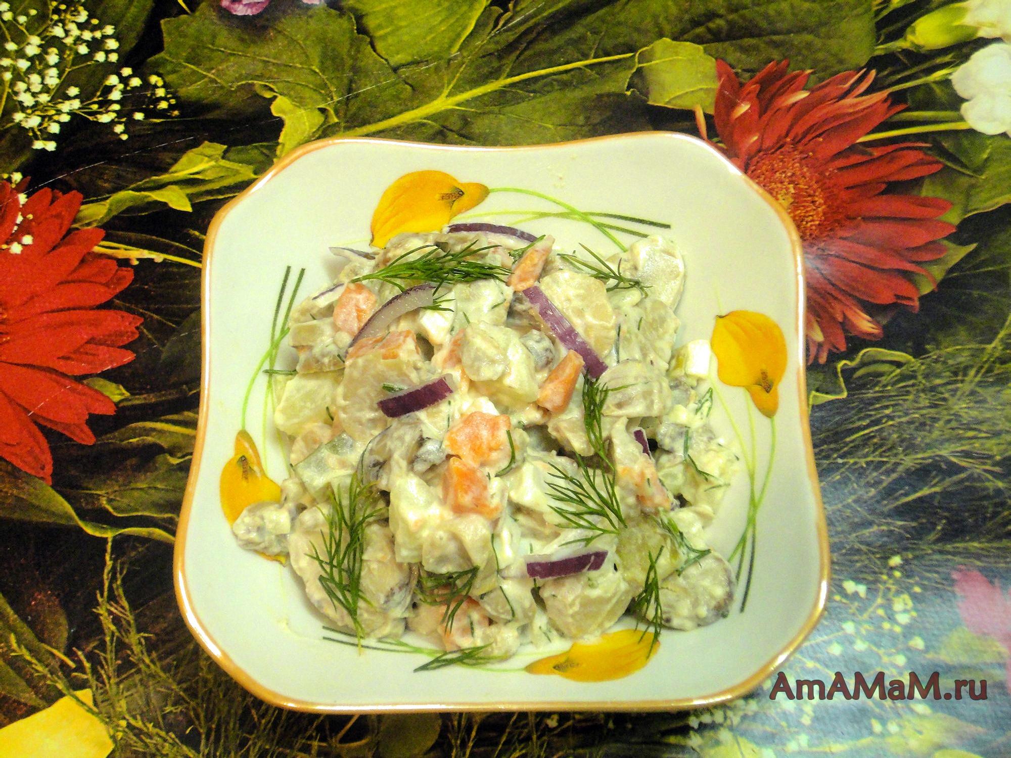 Фото рецепты салата с маринованными шампиньоны