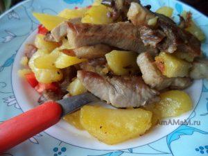 Рецепт картошки с мясом и грибами