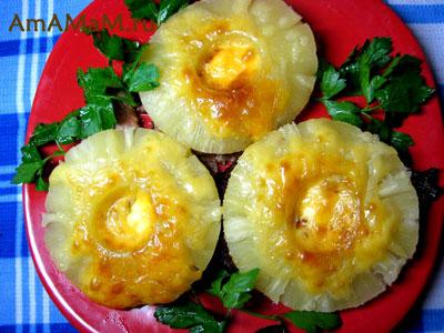 Свинина, ананасы сыр майонез - запекание в духовке