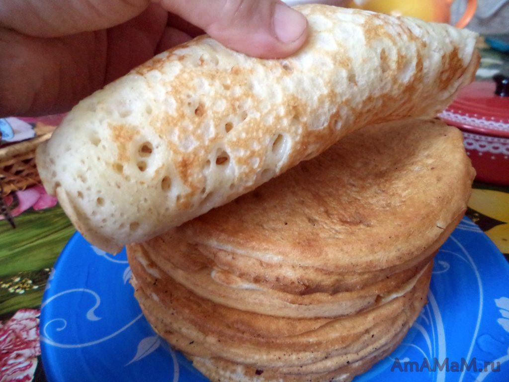 Кислые блины на закваске (толстые) - рецепт с фото