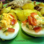 Приготовление яиц с начинкой из зелени- рецепт