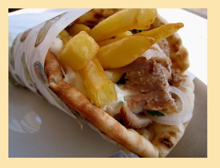 Сувлаки в лепешке (пите) - рецепт греческой шаурмы Гирос