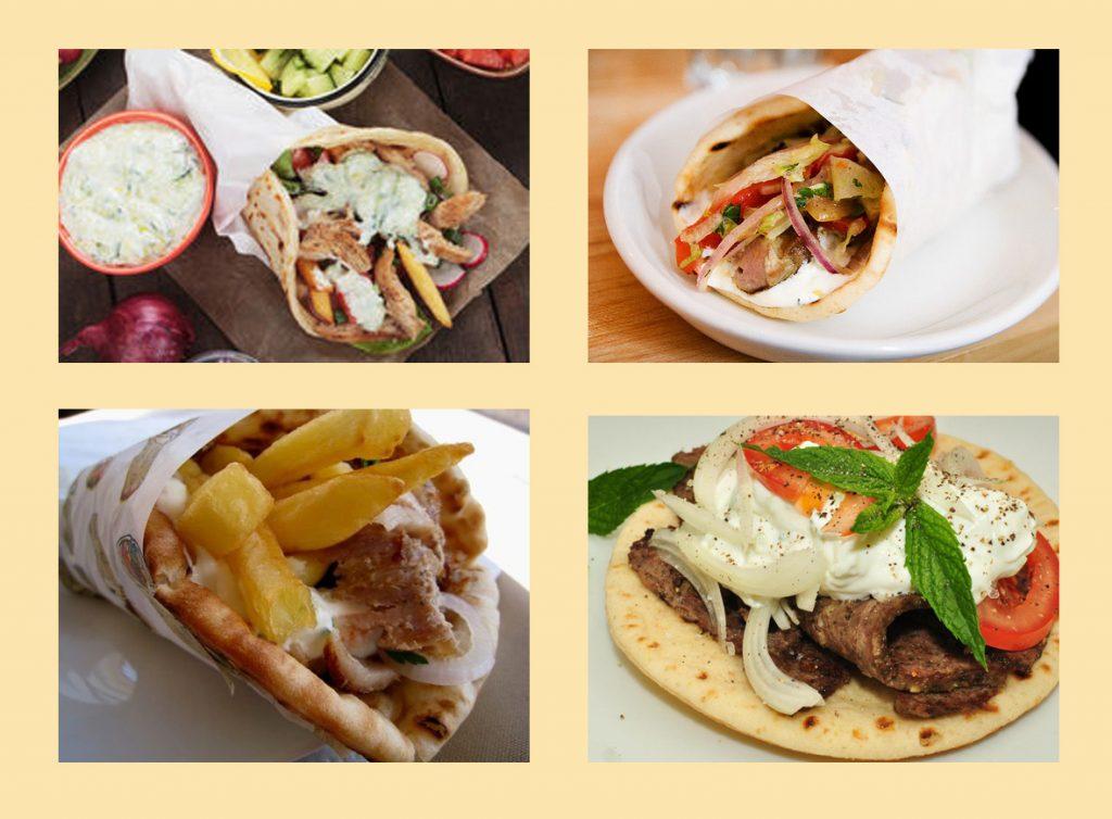 Греческий рецепт гироса - сувлаки в лепешке с дзадзики и жареной картошкой