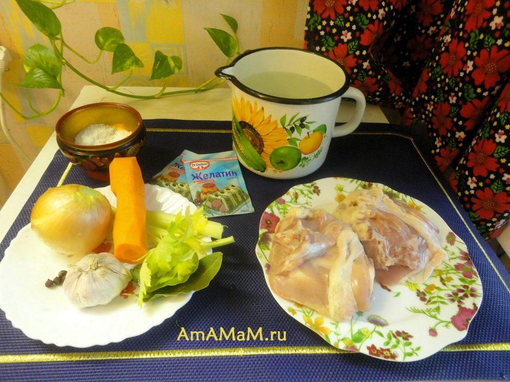 Холодец куриный с желатином - как варить, состав продуктов